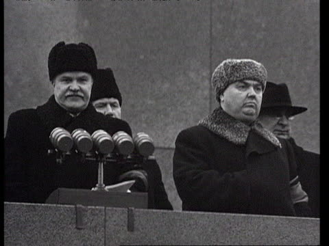 ms malenkov's giving speech on lenin's mausoleum / moscow russia audio - mausoleum stock videos and b-roll footage