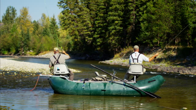 Males rib boat fly fishing on River Canada