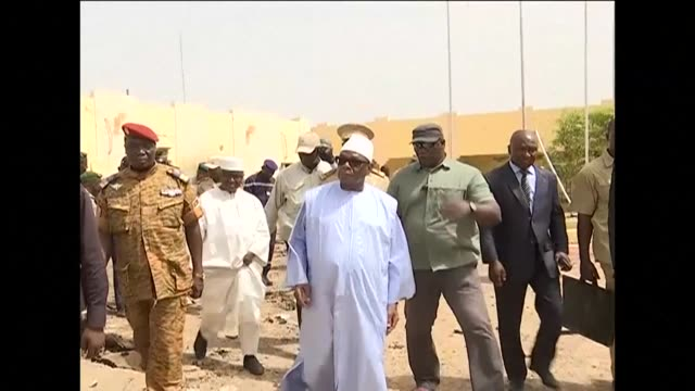 malian president ibrahim boubacar keita visits the g5 sahel headquarters after the anti-terrorism force base was attacked by a suicide bomber - g force stock videos & royalty-free footage
