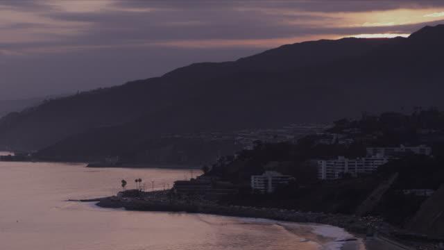 Malibu coastline and Pacific Coast Highway at dusk