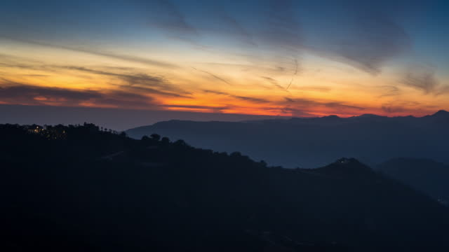 malibu mountains - day to dusk time lapse - day to dusk stock videos & royalty-free footage