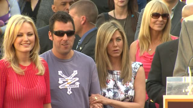 malin akerman adam sandler and jennifer aniston at jennifer aniston honored with star on the hollywood walk of fame in hollywood ca on 2/22/12 - adam sandler stock videos & royalty-free footage
