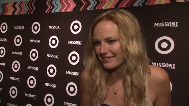 vídeos de stock, filmes e b-roll de malin akerman says why she loves to stroll in target for hours at the missoni for target private launch event at new york ny - missoni