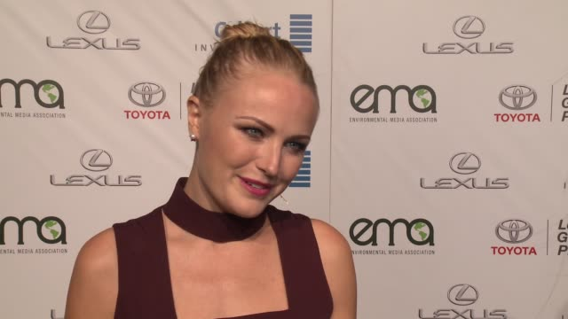 malin åkerman on why it was important for her to support ema and how she supports the environment on a daily basis at the 26th annual environmental... - environmental media awards stock videos & royalty-free footage