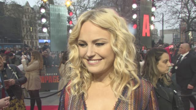 malin åkerman on working with the rock and playing a villain at 'rampage' european premiere at cineworld leicester square on april 11, 2018 in... - malin åkerman stock videos & royalty-free footage