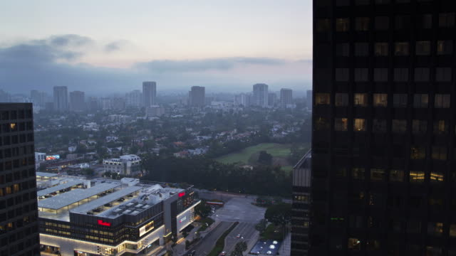 Mall, Office Towers and Country Club in Century City, Los Angeles - Drone Shot
