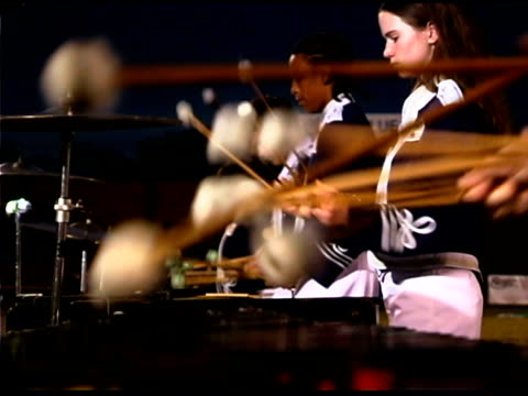 mallets hitting xylophone in marching band - marching band stock videos and b-roll footage