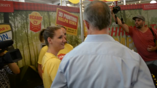 o'malley checks out 3d printing and oculus rift at the iowa state fair - meat chop stock videos and b-roll footage