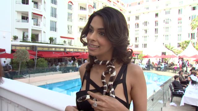 mallika sherawat talks about the cross over of bollywood and hollywood at the hisss photocall cannes film festival 2010 at cannes - bollywood stock videos and b-roll footage