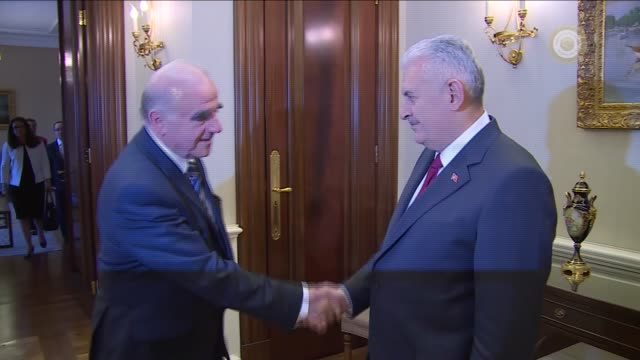 Maltese Foreign Minister George Vella is received by Turkish Prime Minister Binali Yildirim at the Cankaya Palace in Ankara Turkey on June 22 2016
