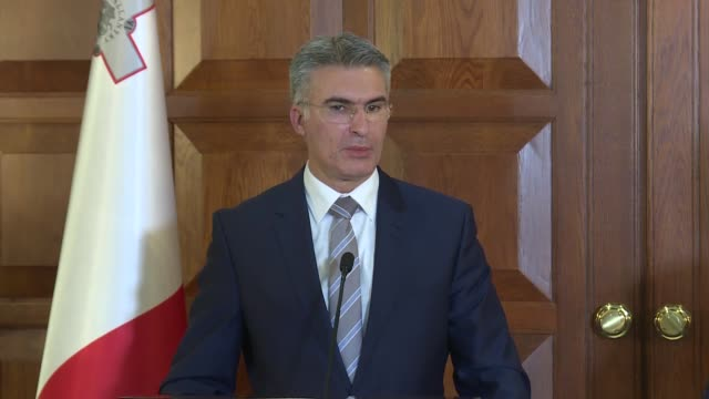 Maltese Foreign Minister Hon Carmelo Abela answers journalists' questions during a joint press conference with his Turkish counterpart Mevlut...