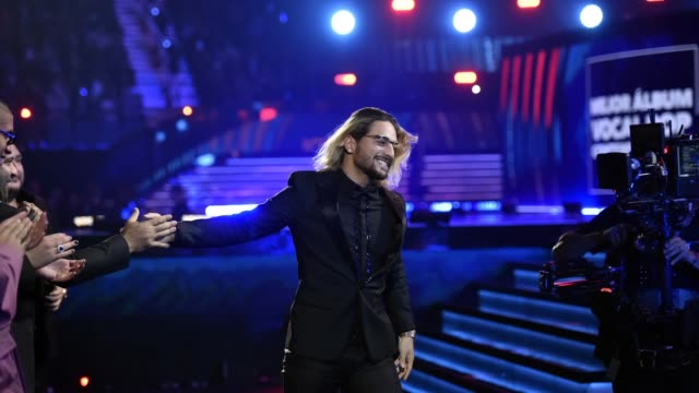 Maluma accepts his award for Best Contemporary Pop Vocal Album for 'FAME' during the 19th annual Latin GRAMMY Awards at MGM Grand Garden Arena on...