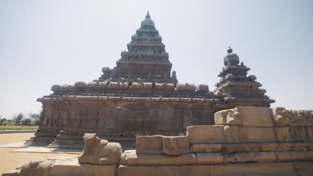 mamallapuram temples steadicam shot. group of monuments at mahabalipuram - stone material stock videos & royalty-free footage
