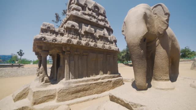 mamallapuram temples steadicam shot. group of monuments at mahabalipuram - monument stock videos & royalty-free footage