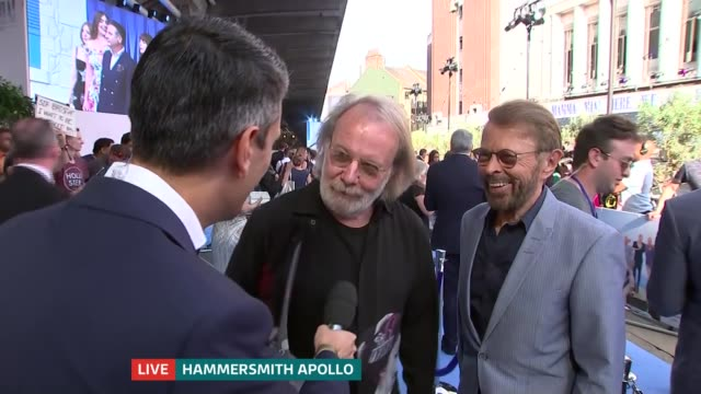 'mamma mia here we go again' red carpet premiere england london hammersmith ext bjorn ulvaeus and benny andersson live red carpet interview sot - mamma mia stock videos and b-roll footage
