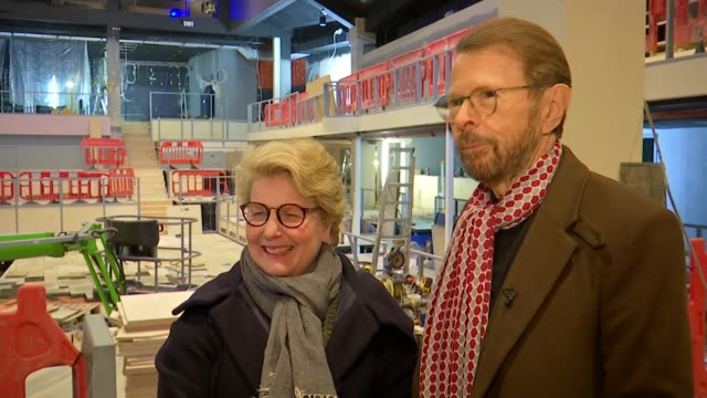 mamma mia the party to open next year at greenwich o2 england london greenwich int bjorn ulvaeus interview with sandi toksvig laughing sot - mamma mia stock videos and b-roll footage