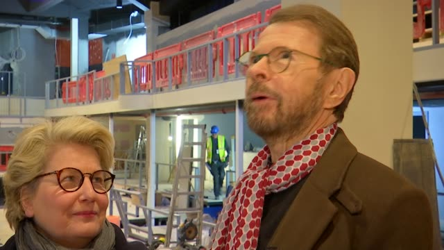 mamma mia the party to open next year at greenwich o2 england london greenwich int bjorn ulvaeus and sandi toksvig interview sot various shots of... - sandi toksvig stock videos & royalty-free footage