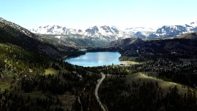 mammoth lake aerial view in california - californian sierra nevada stock videos & royalty-free footage