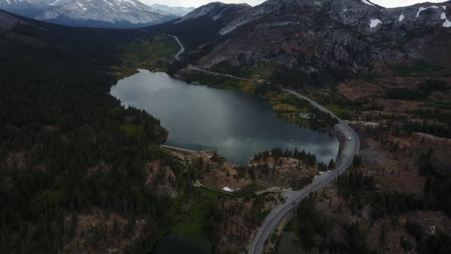 mammoth lakes landscape in california, aerial - wilderness stock videos & royalty-free footage