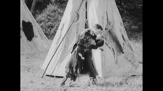 1922 man (buster keaton) accepts gift of squaw in exchange for land deed - respekt stock-videos und b-roll-filmmaterial