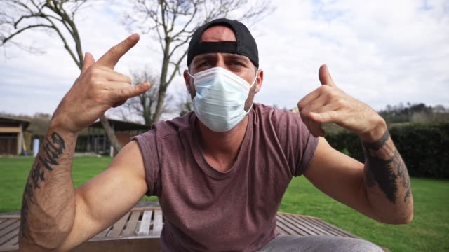 man acting with mask during the quarantine - acting stock videos & royalty-free footage