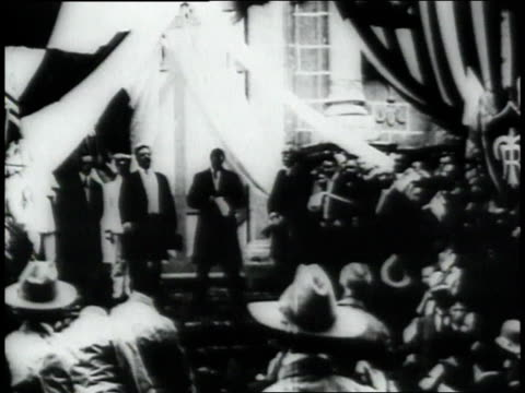 montage man addressing the president and the people of panama / republic of panama - anno 1906 video stock e b–roll