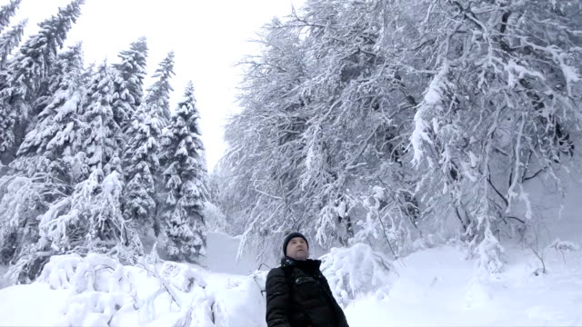 Man admires winter forest