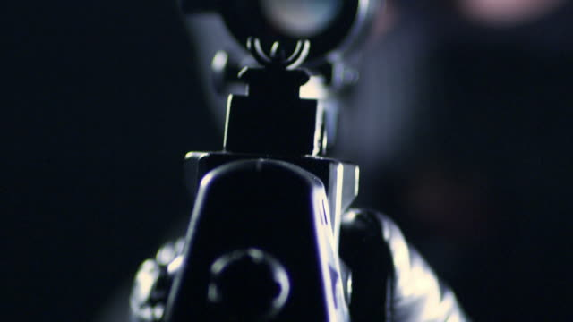 man aiming with rifle - rifle stock videos & royalty-free footage