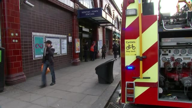 stockvideo's en b-roll-footage met man allegedly pushed in front of tube train at kentish town station england london kentish town station ext fire engine parked outside kentish town... - kentish town