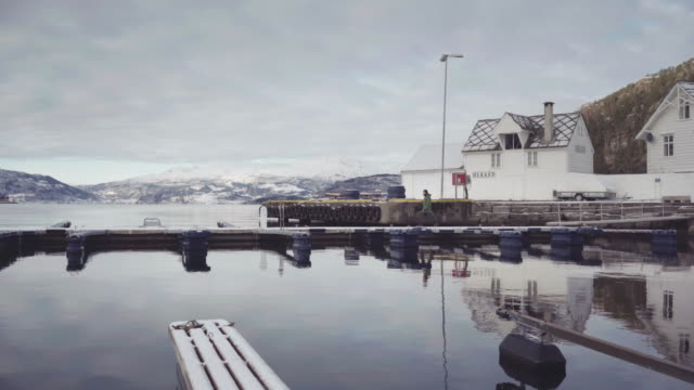 vídeos de stock e filmes b-roll de man alone on a dock by the sea in norway - marinheiro