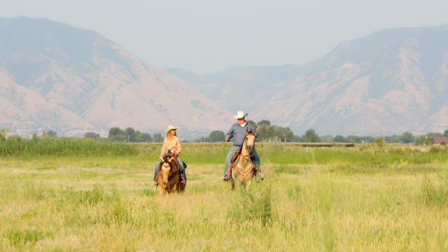 man and a teenage girl riding horses together - cowgirl stock videos & royalty-free footage