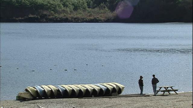 A man and a woman watch the waterfowls on Lake Saiko in the Fuji Hakone Izu National Park in Yamanashi, Japan.