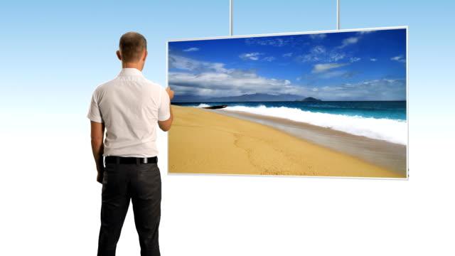 man and big flat screen tv - flat screen stock videos & royalty-free footage
