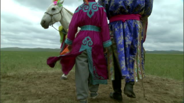 man and boy walk towards horse tethered to post on steppe, inner mongolia, china - two generation family stock videos & royalty-free footage