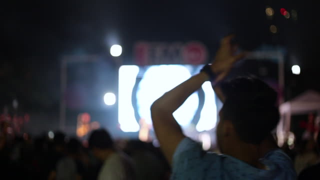 A man and crowd people dancing in outdoor concert from the back view