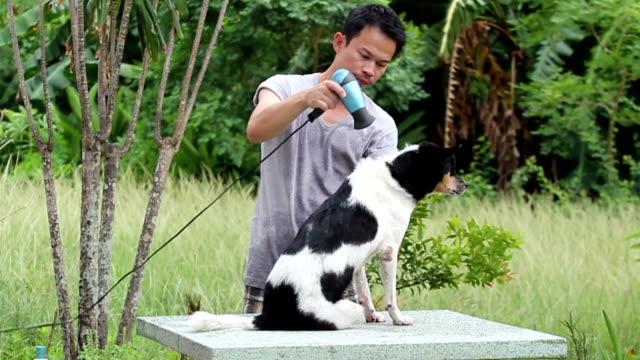 Man and dog do outdoor activities