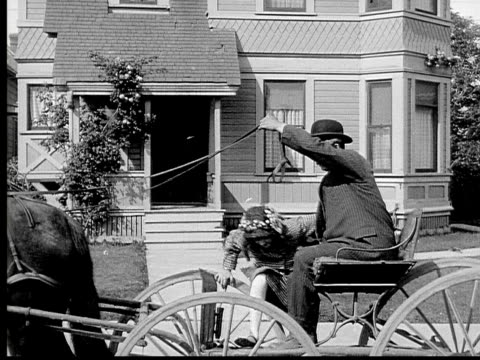 1913  ms b&w man and girl leave house in horsedrawn carriage - 1913 stock videos & royalty-free footage