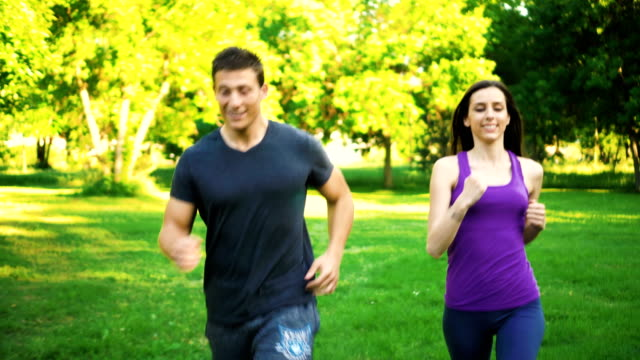 Man and woman are jogging