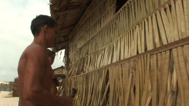 ms man and woman building house with babacu straw / ilha dos lencois, maranhao, brazil - 草葺小屋点の映像素材/bロール