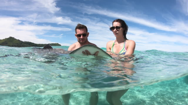 a man and woman couple diving snorkeling with manta ray stingrays in bora bora tropical island. - bora bora stock videos & royalty-free footage