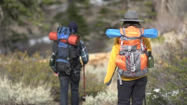 vídeos y material grabado en eventos de stock de a man and woman couple hiking together on a forest trail in the mountains. - artículo de montañismo