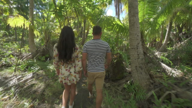vídeos y material grabado en eventos de stock de a man and woman couple walking on a path in the tropical islands in french polynesia. - territorios franceses de ultramar