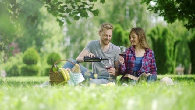 vídeos y material grabado en eventos de stock de hombre y la mujer beber blanco rojo en picnic en el parque - cesta de picnic
