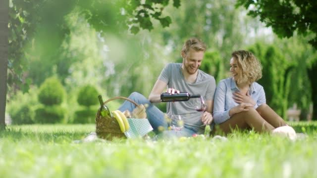 男と公園でピクニックの白赤を飲む女 - ギフトバスケット点の映像素材/bロール