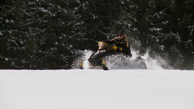 ws pan slo mo man and woman driving snowmobile / pokljuka, triglav national park, slovenia - pokljuka stock videos and b-roll footage