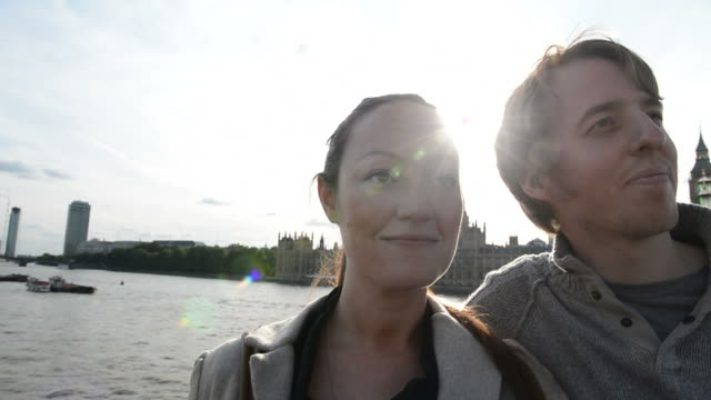 Man and woman enjoying the view in London, close-up