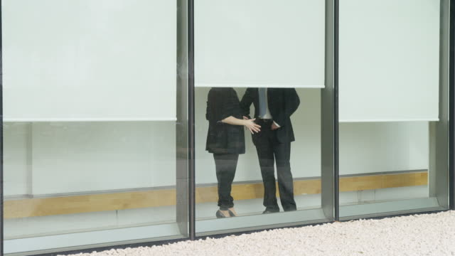 ms of man and woman having an argument in an office corridor seen from themoutside with faces obscured by blinds - office politics stock videos & royalty-free footage