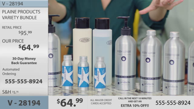 Man and woman hosting infomercial highlight a selection of eco-friendly body lotion and hair care products.
