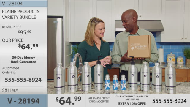 man and woman hosting infomercial promote the purchase and sustainable return policy of plaine products boxes with full retail display. - hair conditioner stock videos and b-roll footage
