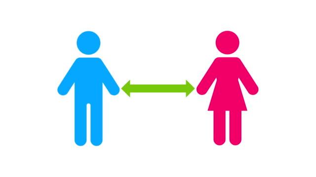 stockvideo's en b-roll-footage met man en vrouw iconen bewegen afgezien van elkaar voor sociale distantiëring om blootstelling virus, bacteriën en andere ziekte veroorzaakt ziekteverwekkers te voorkomen - rabiës